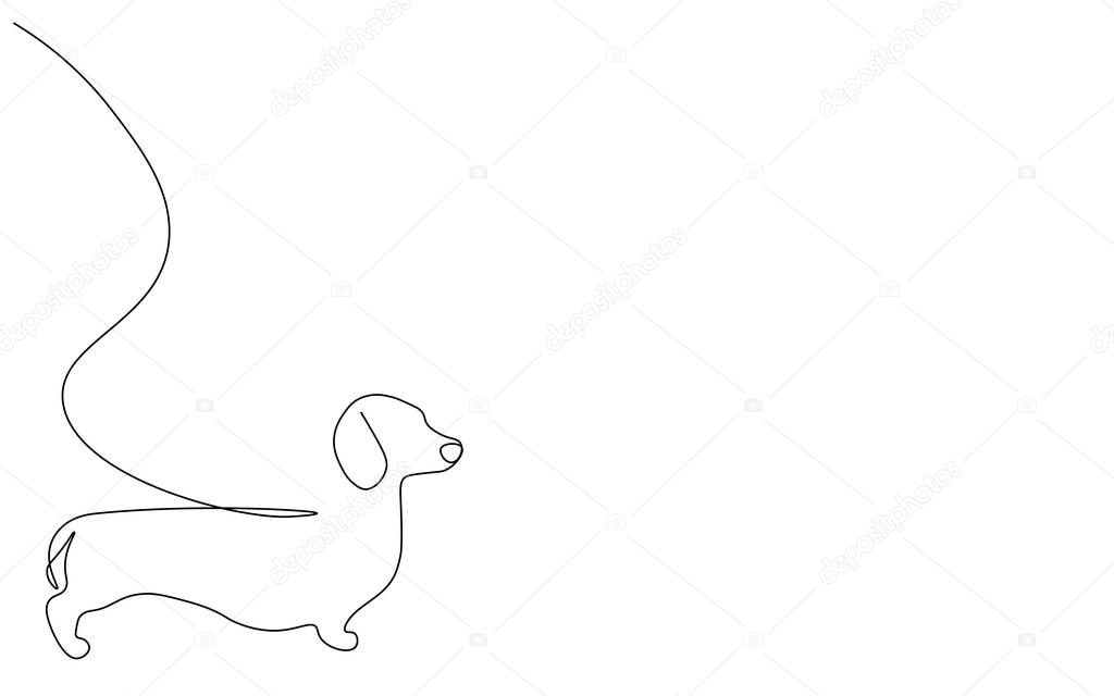 Dachshund Puppy Silhouette One Line Drawing Vector Illustration Premium Vector In Adobe Illustrator Ai Ai Format Encapsulated Postscript Eps Eps Format