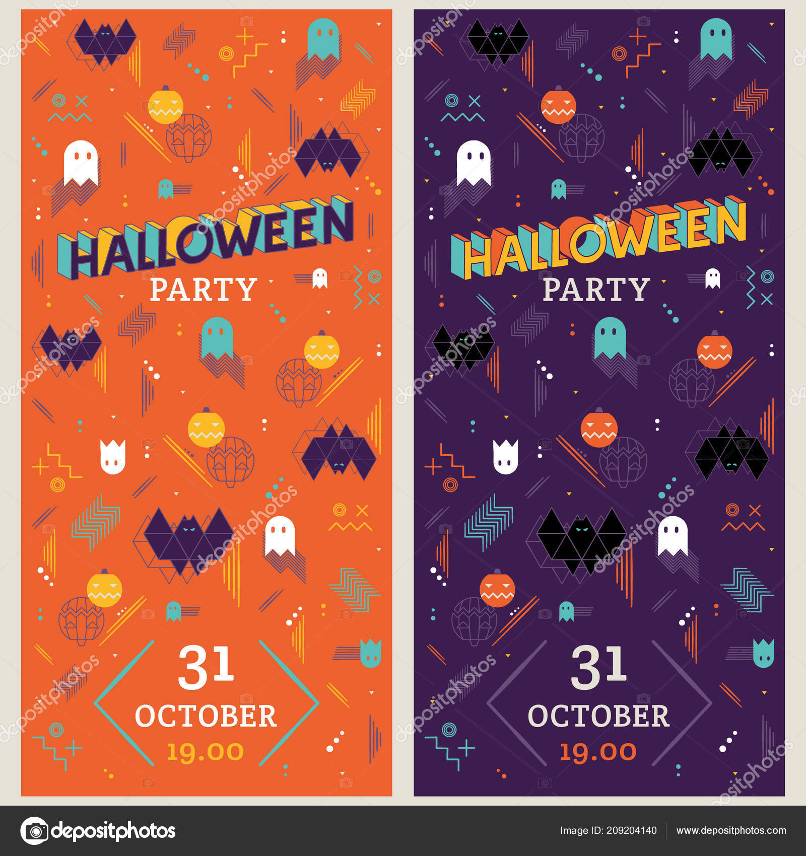 pair vertical halloween vector flyers memphis 80s style stock vector