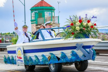 Portland, Oregon, USA - June 9, 2018: Seattle Seafair Commodores Mini-Float in the Grand Floral Parade, during Portland Rose Festival 2018.