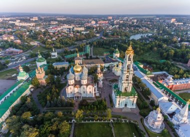 Holy Trinity Sergius Lavra, Sergiev Posad, aerial photography. Top view, shot with copter