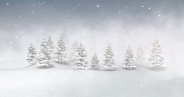 Winter seasonal landscape at snowfall and fog, nature zoom introduction 3D  footage render with white ending