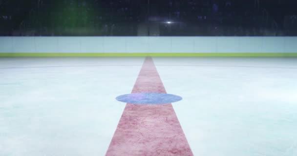 hokejové hřiště s animaci bitvy vhazování puku a fotoaparát flash za hokejový stadion krytý 4k záběry komerční pozadí s bílým koncem