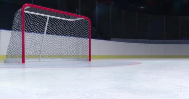 cíl brána s hokejka zjevení přiblížit a fotoaparát flash za hokejový stadion krytý 4k záběry reklama pozadí s bílým koncem