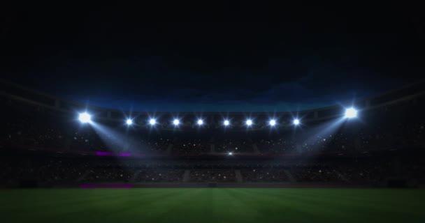 moderní trávě hřiště stadion večer svítidlo osvětlení oddálit záběr, fotbalový stadion sport bazar pozadí, 4 k animaci s černým koncem