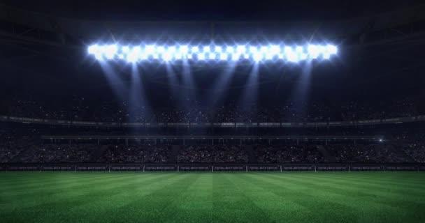 Grosse Fussball Stadion In Der Nacht Mit Licht Bewegte Kegel Als Nahtlose Schleife Fussball Arena Sport Werbung Statische Ansicht Hintergrund 4 K Schleife Animation