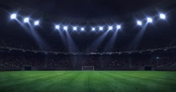 éjszakai fény mozgó varrat nélküli hurok, az foci aréna sport hirdetés statikus nézet hátterére, a 4 k hurok élénkség Grand labdarúgó-stadion
