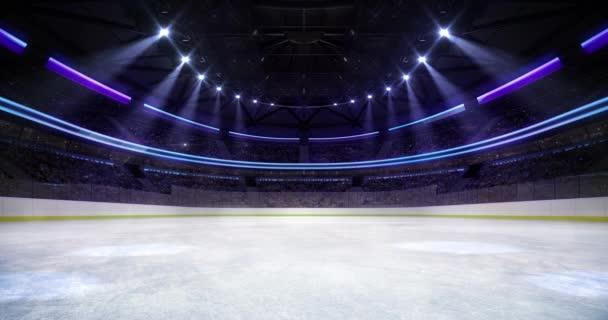 Hokej a bruslení stadionu 4k záběry statické smyčky pozadí.
