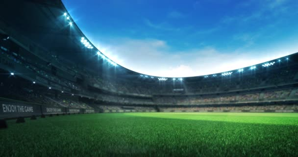 leere grüne Rasenspielplatz in einem Stadion voller Zuschauer bei Tageslicht, Sport 4k professionelle Hintergrund-Animation Schleife