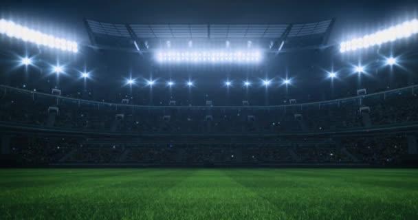 Sport Videó háttér egy stadion tele rajongókkal, füves pályán és reflektorfényben. Sport épület 4k hurok animáció.