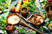 Fotografie Fresh medicinal,healing herbs.Alternative medicine herbal.Natural herbal medicine
