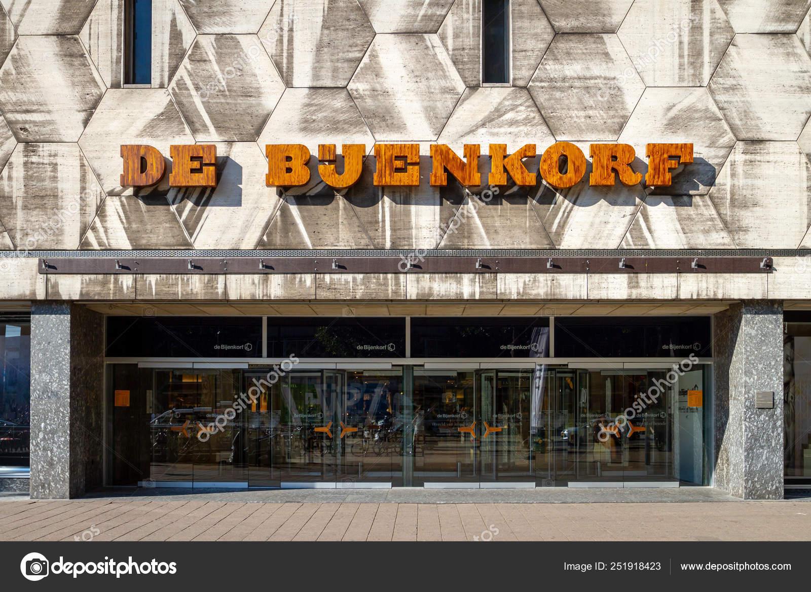 De Bijenkorf name above the Rotterdam store entrance – Stock