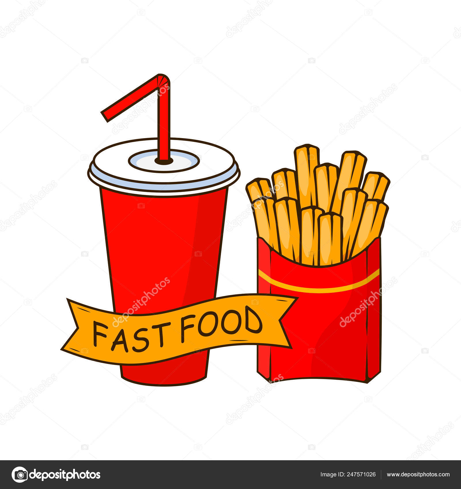 Soda cup with straw  french fries, fried potatoes in paper