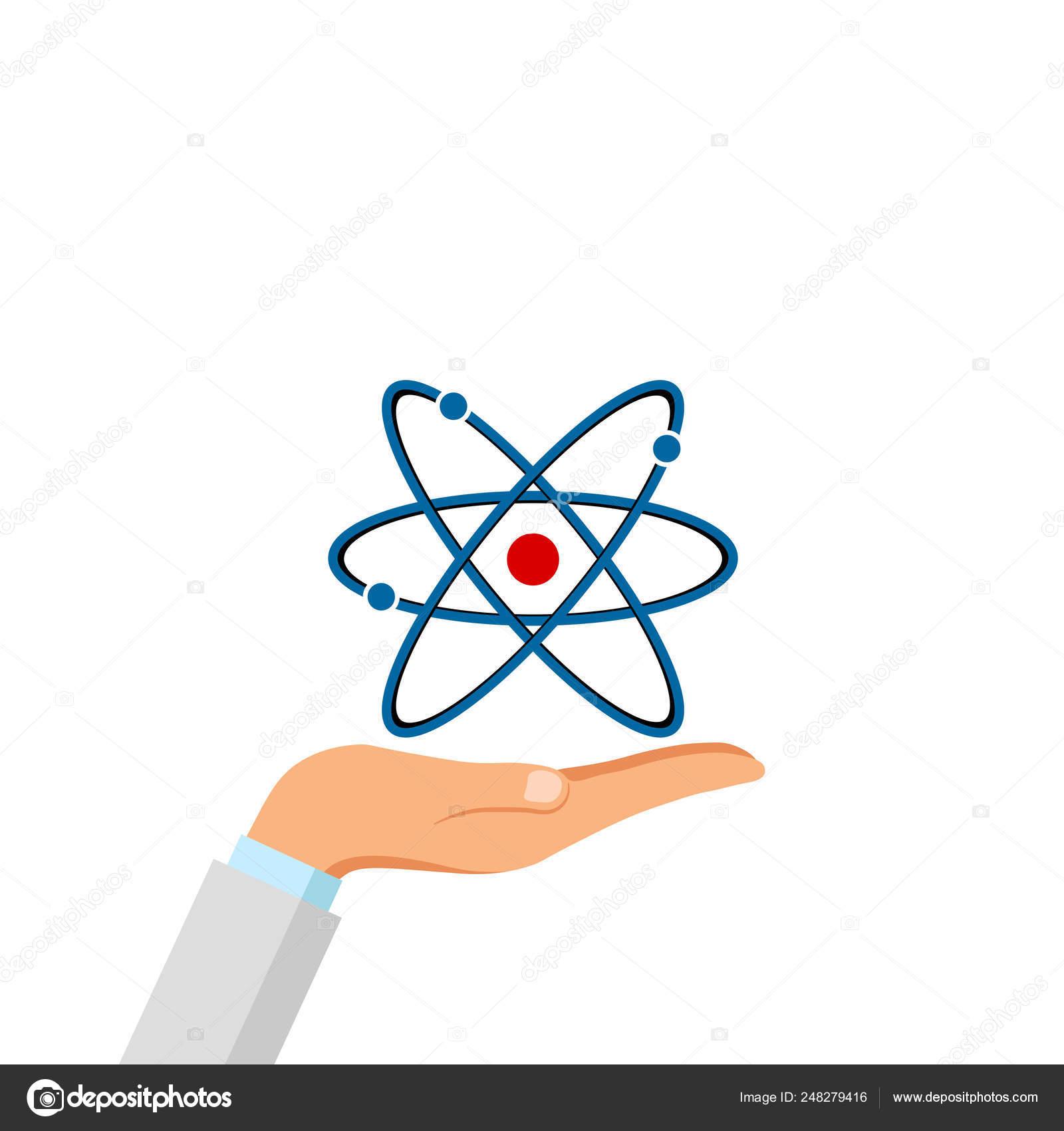 Asimiento De La Mano Icono De La Estructura Del átomo