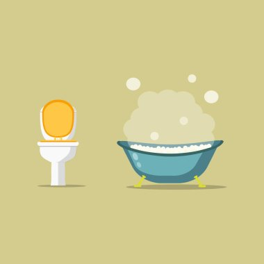 Bathtub full of foam with bubbles in bathroom and toilet bowl isolated on background. Comfortable equipment for bathing and relaxing. WC. Vector flat illustration. icon