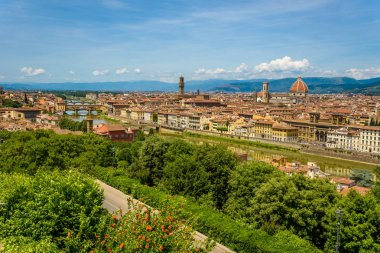 View of Florence from Piazzale Michelangelo - River Arno with Ponte Vecchio and Palazzo Vecchio, Duomo Santa Maria Del Fiore and Bargello - Tuscany, Italy stock vector