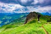Fotografie Panoramablick vom Nebelhorn Berge und Landschaft Landschaft der Alpen in Bayern, Deutschland