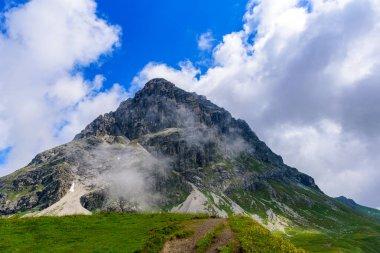 Mountain Widderstein in the valley Kleinwalsertal in the Allgau Alps in Austria, Beautiful Landscape Scenery in Europe