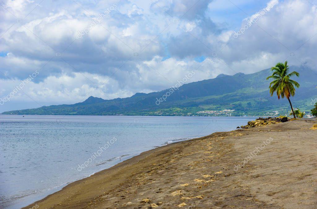 Paradise beach Le Carbet, tropical island Martinique, Caribbean Sea