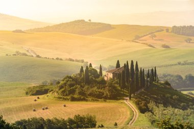 Beautiful landscape scenery of Tuscany in Italy - travel destination in Europe stock vector