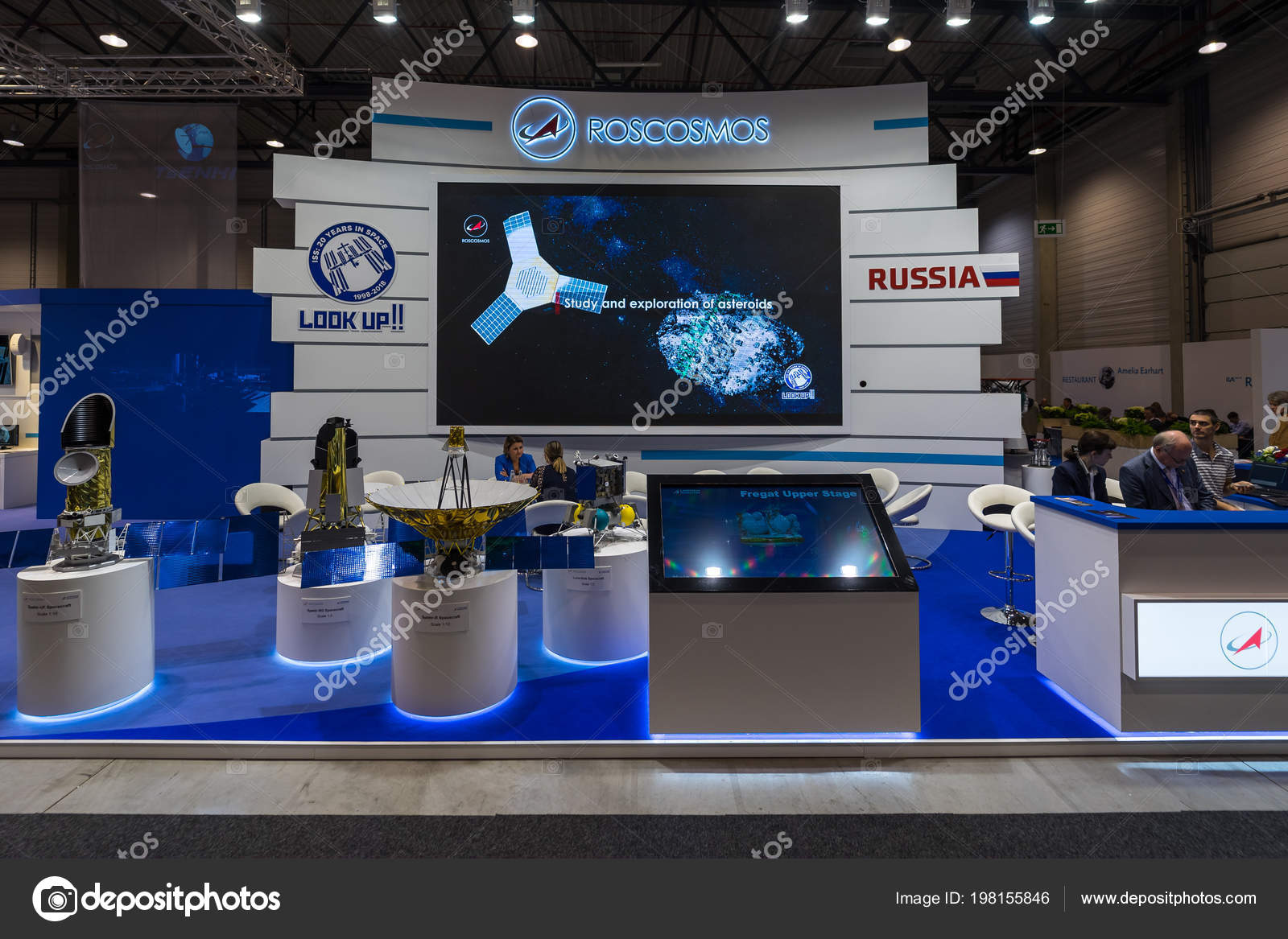 Exhibition Stand Activities : Berlin april space pavilion stand roscosmos state corporation