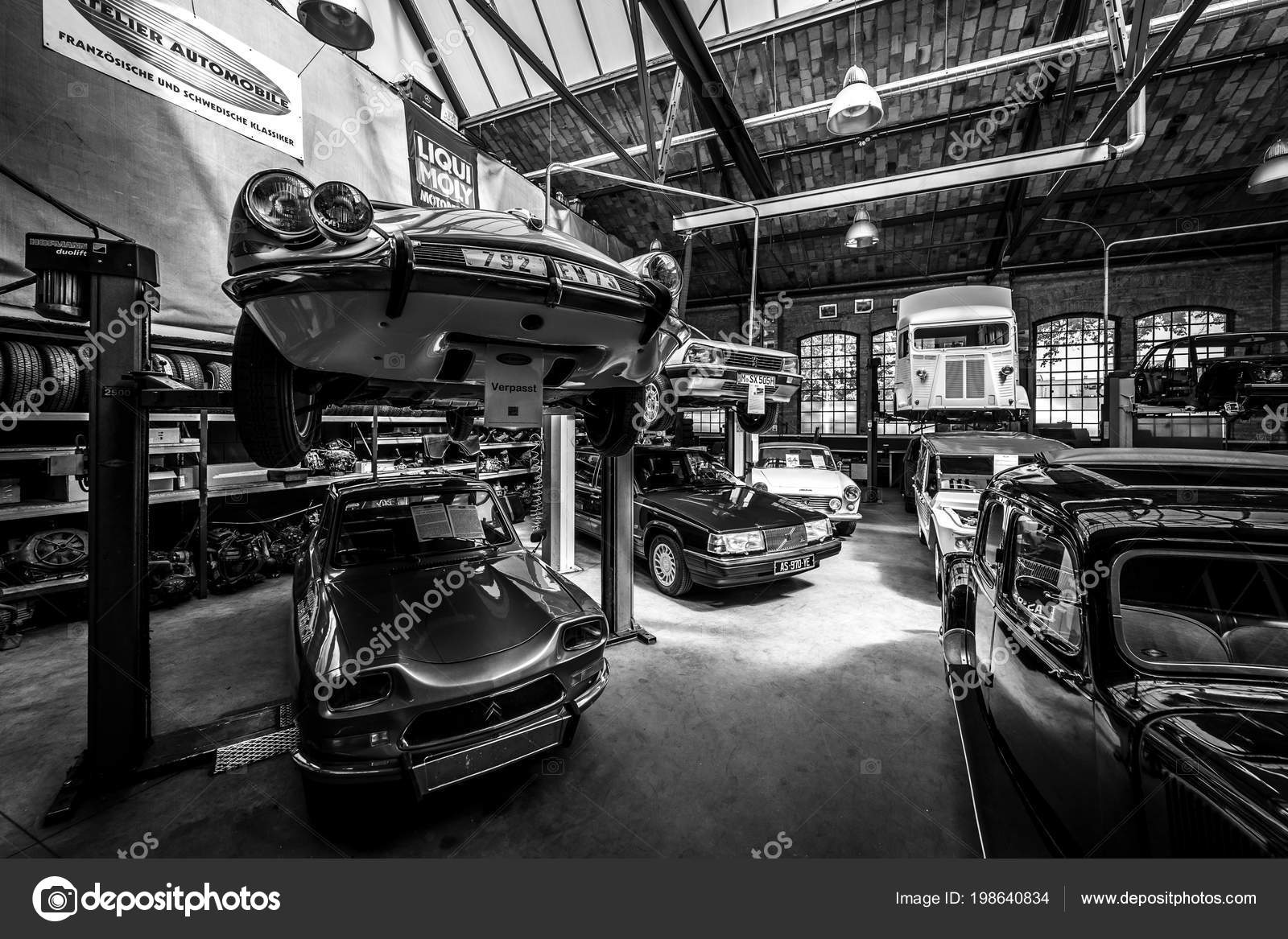Berlin may 06 2018 a workshop for the maintenance and repair of retro cars in the complex of buildings classic remise berlin black and white
