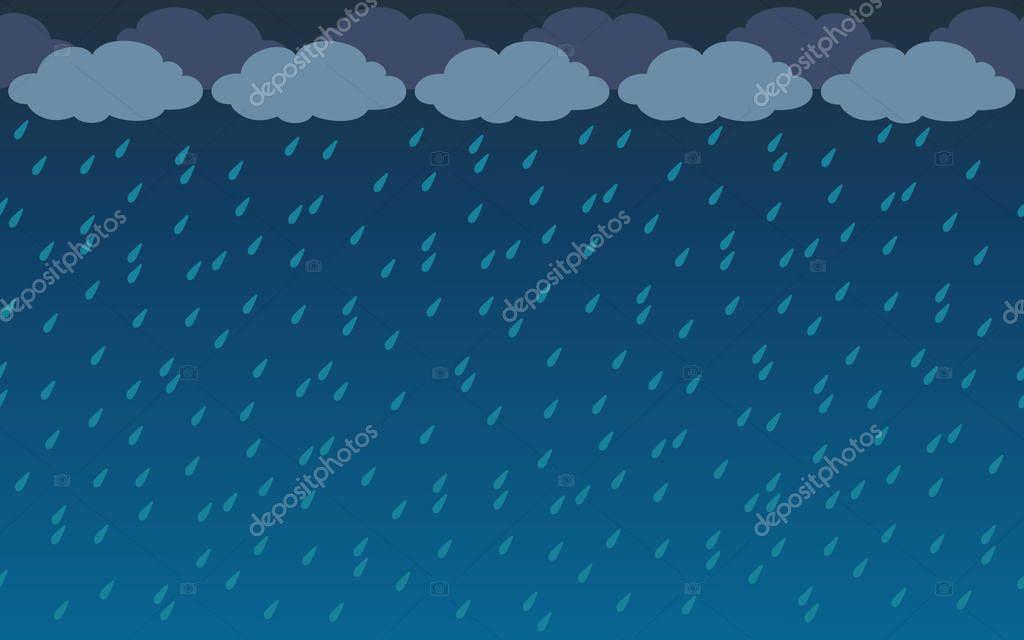 Rainy sky background in flat cartoon style. Vector illustration.