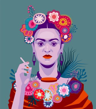 Frida Kahlo with cigarette on blue background