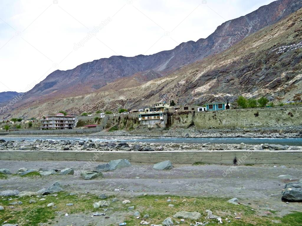 Gilgit is located in a broad valley near the confluence of the Gilgit River and Hunza River. It is a major tourist destination in northern Pakistan, and a hub for mountaineering expeditions in the Karakoram Range. It was an important stop on the anci
