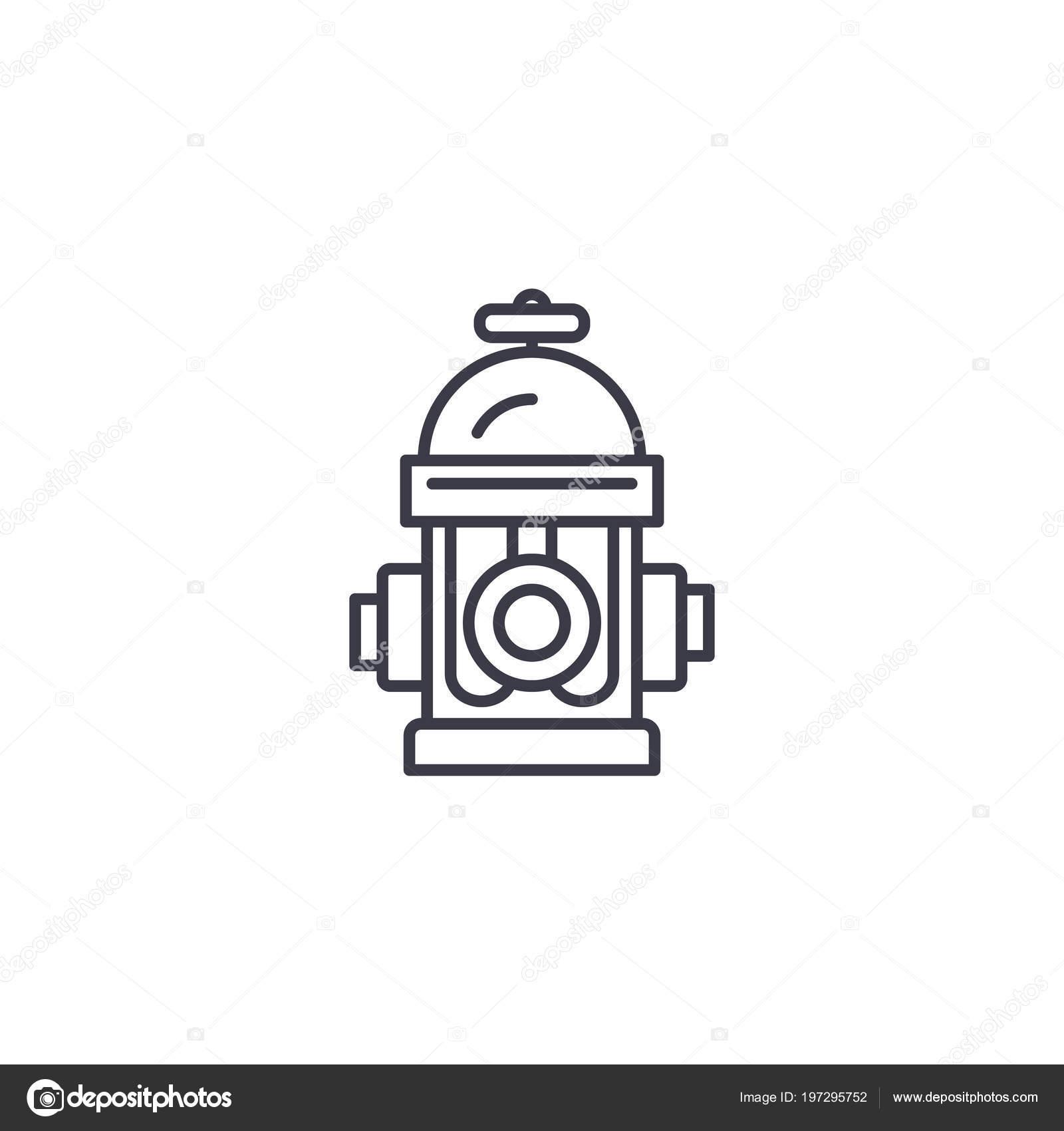Hydrant Linear Icon Concept Hydrant Line Vector Sign Symbol