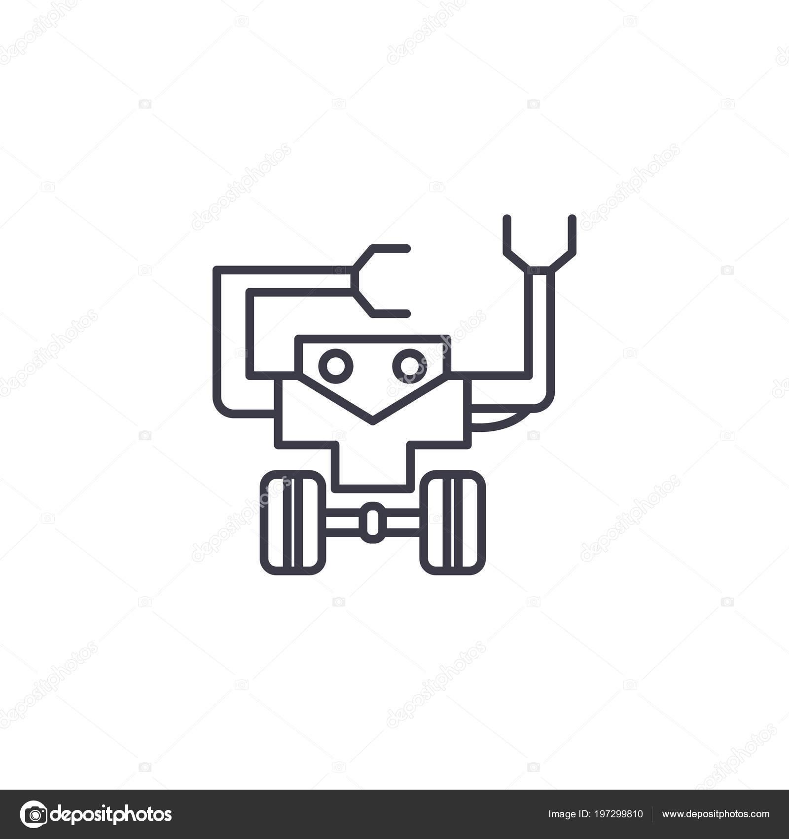 Robotics Linear Icon Concept Robotics Line Vector Sign Symbol