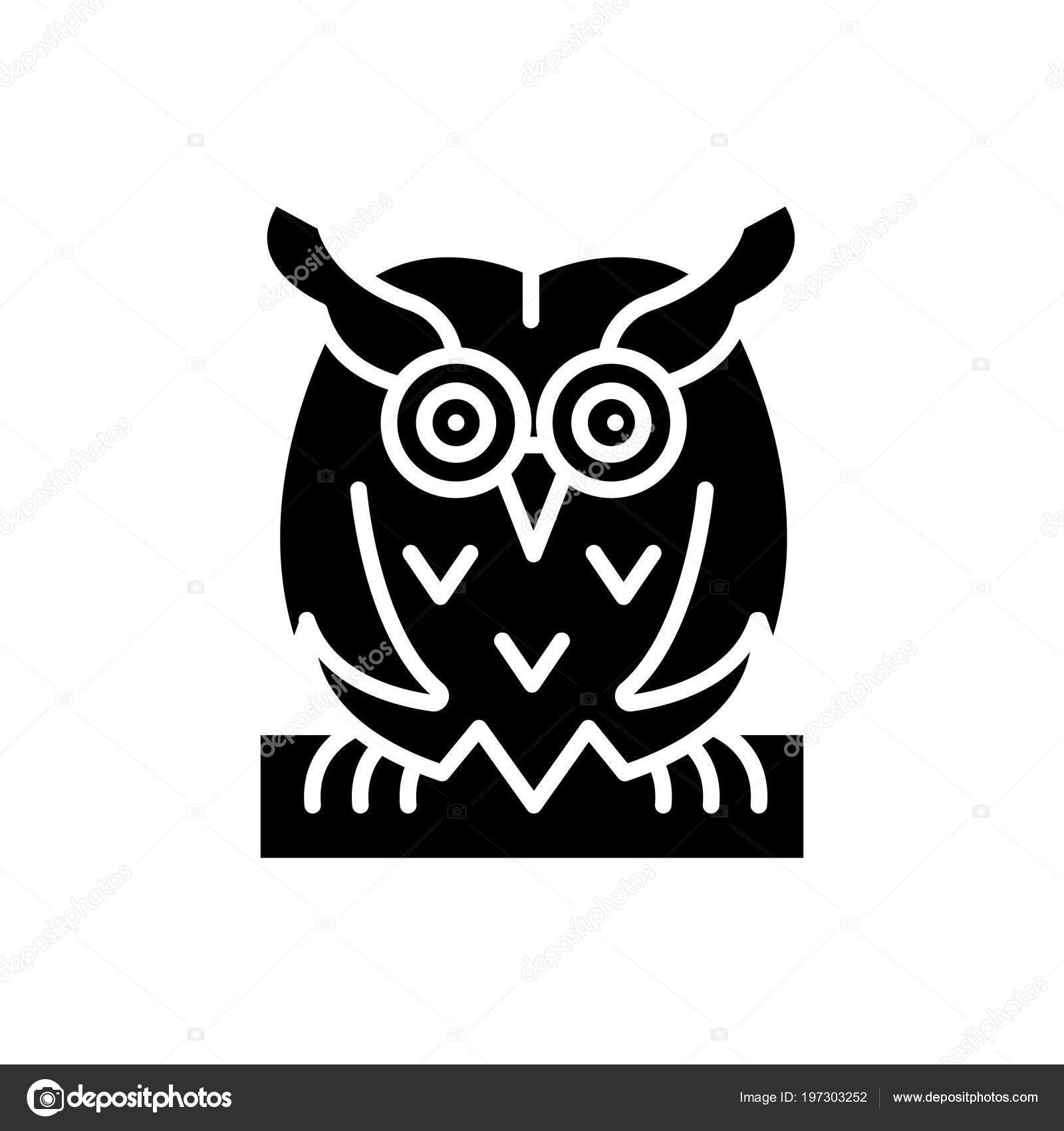 La Chouette Symbole concept oiseau chouette icône noire. symbole de vecteur plat oiseau