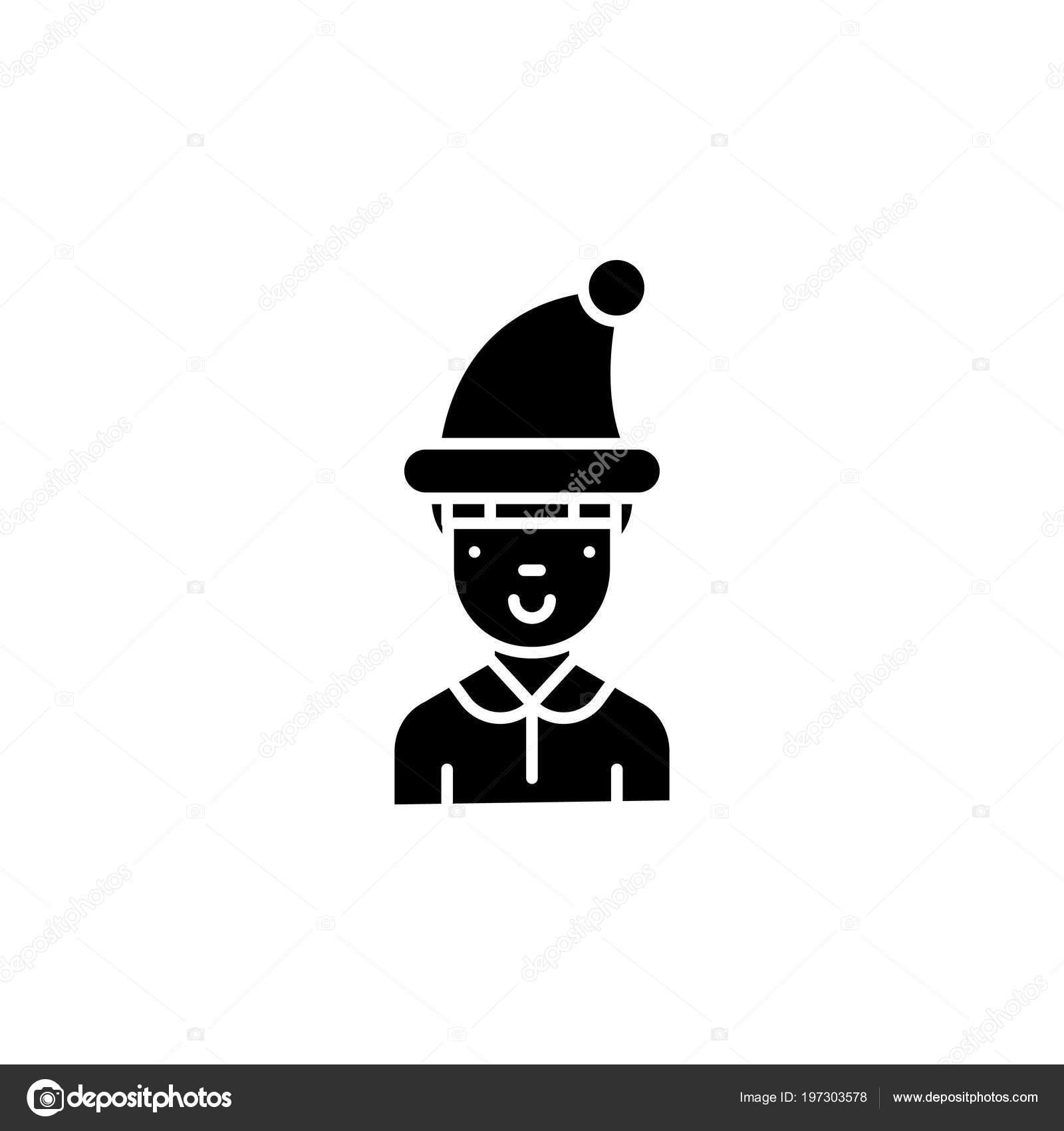 0d95c72aec3 Boy in winter hat black icon concept. Boy in winter hat flat vector symbol