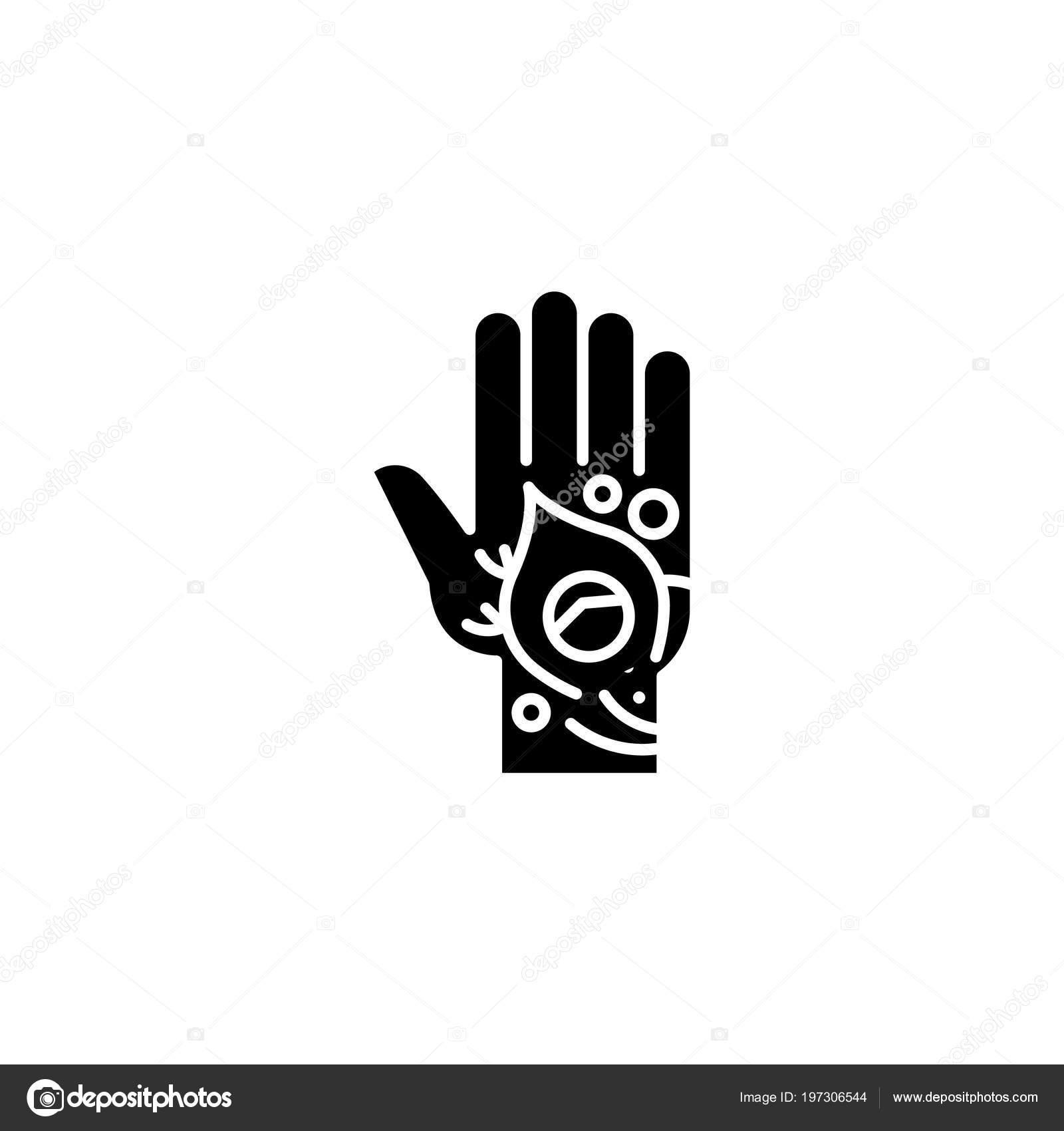 Mehndi Tattoo Black Icon Concept Mehndi Tattoo Flat Vector Symbol