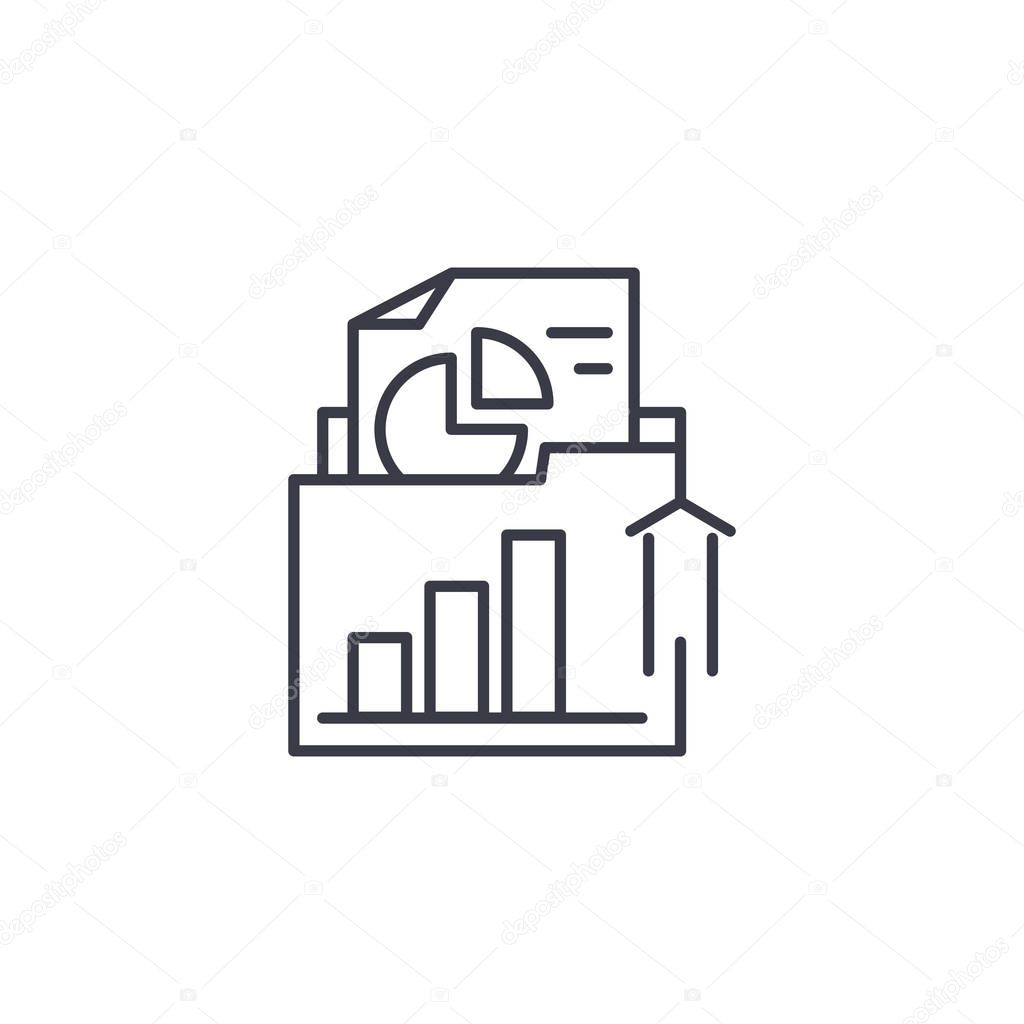 Unearthing documentation linear icon concept. Unearthing documentation line vector sign, symbol, illustration.