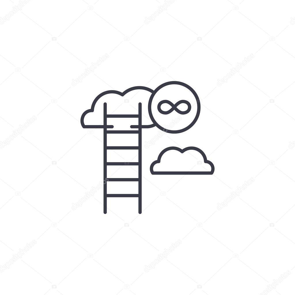 Unending growth linear icon concept. Unending growth line vector sign, symbol, illustration.