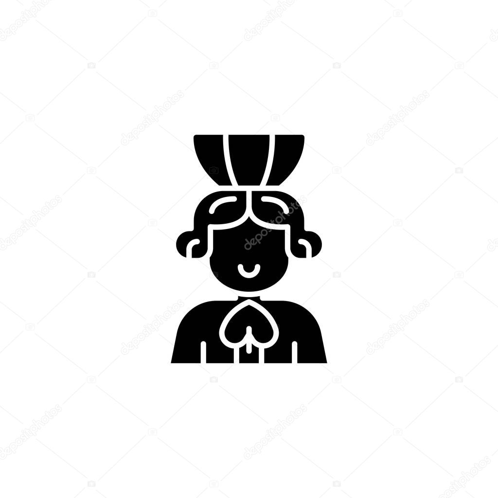 Queen of spades black icon concept. Queen of spades flat  vector symbol, sign, illustration.