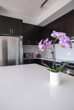 Modern Condo Kitchen with an Island
