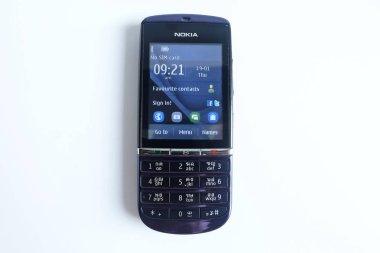 Bangkok, Thailand - April 22, 2018 Nokia Asha 300, No sim card, mobile phone Keypad isolated on white background