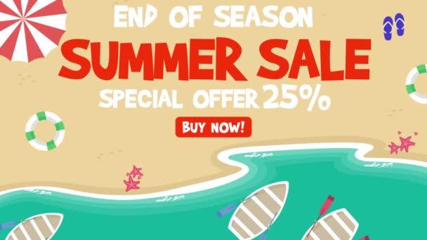 Letní výprodej na pláži pozadí animace