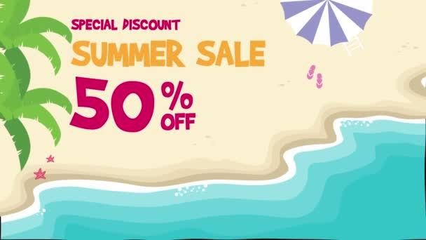 Letní prodej beach krajina animace pozadí