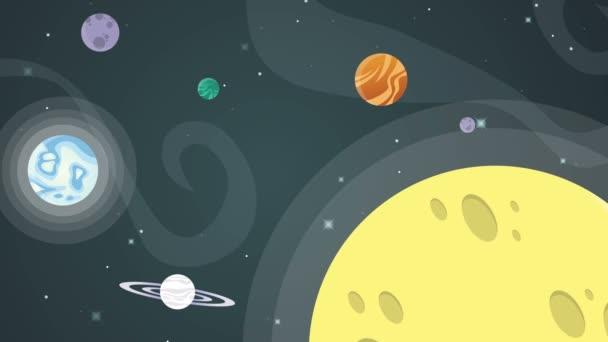 Csillag a térben bolygó rakéta animáció