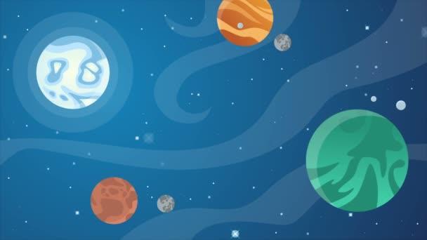 Stelle nello spazio con oggetti cartone animato u video stock