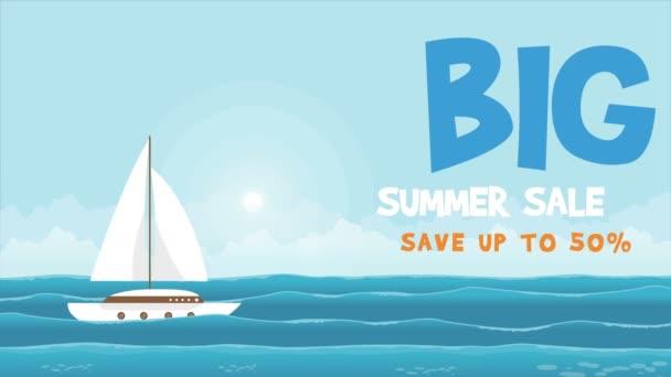 Vendita grande estate con nave sullanimazione di mare