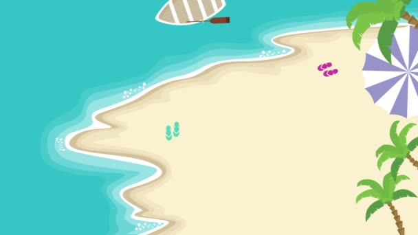 Velký Letní výprodej s lodí na moři animace