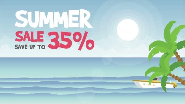 Nagy nyári eladó hajó a tenger animáció