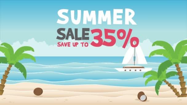 Big summer sale with ship on sea animation