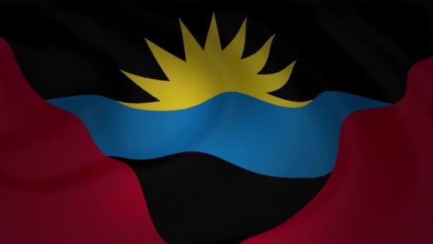 Close up of Antigua and Barbuda flag waving animation background