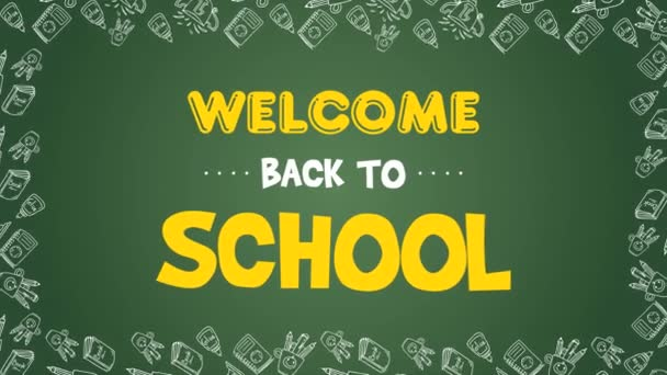 Animation of back to school on green background collection