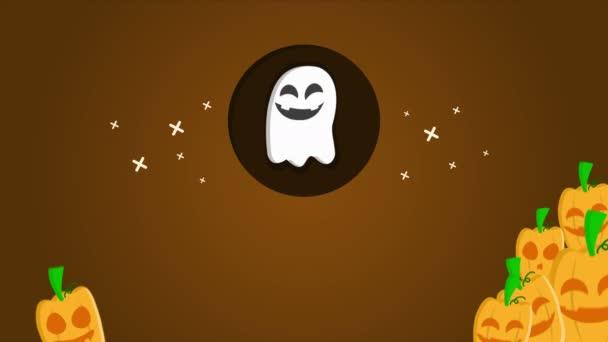 Veselý Halloween na fialovém pozadí animace kolekce