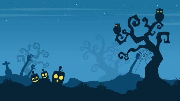 Animation of Halloween landscape background collection